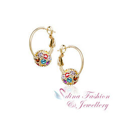 18K Rose Gold Plated Made With Swarovski Crystal Colourful Ball Hoop Earrings