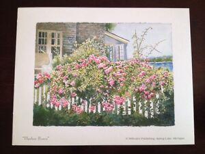 Linda Baker Michigan Harbor Roses Mini Print Garden Flower Picket Fence House