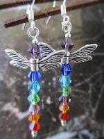Dragonfly Chakra Crystals Artisan Earrings-Healing Buddhist Reiki