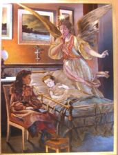 art print~GUARDIAN ANGEL(with child in bed) sick~Foil~Victorian vtg repro 9x12