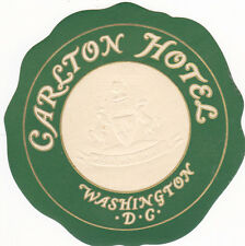 Vintage Hotel Luggage Label CARLTON HOTEL Washington DC embossed logo