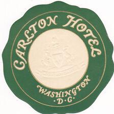 Vintage Hotel Luggage Label CARLTON HOTEL Washington DC embossed logo