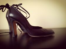 Vintage Strappy Black Leather Heels