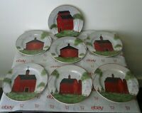 "SAKURA 1998 Set of 7 Warren Kimble BARNS 8""  Salad Lunch Plates"