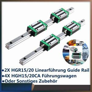 2X HGR15 HGR20 Linearführung Führungsschiene Rail +4X HGH15CA HGH20CA Gleitblock