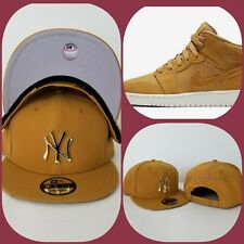 New Era New York Yankee Gold Metal snapback hat Jordan 1 Wheat Golden Harvest