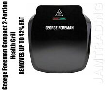 George Foreman Compact 2-Portion Health Grill & Drip Tray - Black