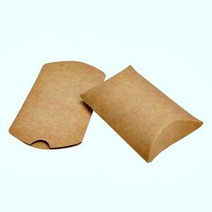 25 Qty Kraft Paper Pillow favor Box Wedding Party Favour Gift Candy Small Boxes