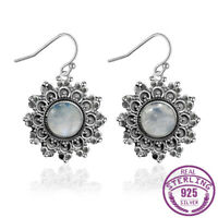 925 Silver Natural Round Moonstone Drop Dangle Hook Flower Earrings Wholesale