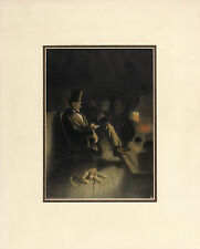 BR CAMPBELL Antique XRare 1908 A1 Gravure LINCOLN, FIDO & TWO MEN BY PIPE STOVE