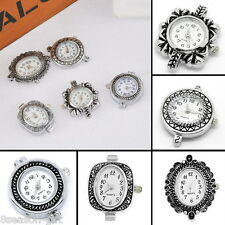 1Set 5pcs Mixed Fashion Quartz Watch Face Silver Plated For Beading