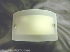 12V CURVED FROSTED GLASS LED WALL LIGHT WARM WHITE SWITCHED MOTORHOME CARAVAN