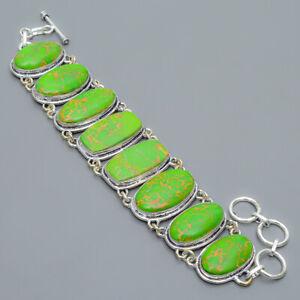 "Copper Green Turquoise Gemstone 925 Sterling Silver Link Bracelet 7.99"" T2787"
