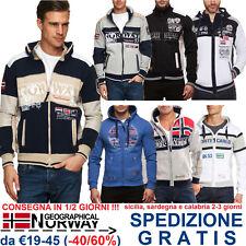 Geographical Norway Giacca Felpa Uomo con Cappuccio per Tuta Moda Casual Fashion