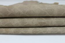 UNFINISHED BEIGE PYTHON SNAKE embossed Italian Goatskin leather 2 skins 12sqf