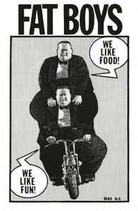 "DREW FRIEDMAN ""FAT BOYS"" POSTCARD 1985 GLENN BRAY ""WE LIKE FOOD - WE LIKE FUN!"""