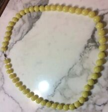 32 Inch Long Yellow Bakelite Large Bead Neckless With Brass Fitting