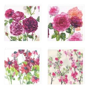 Whistle Set of Four Eco  Floral Recycled blank Cards Any Occassion