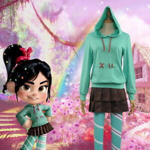 Women Kids Dresses Green Costume Wreck-It Ralph 2 Vanellope von Schweetz Cosplay
