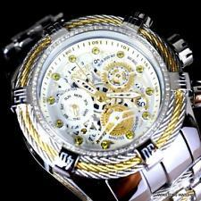 Invicta Reserve Bolt Zeus Tri-Cable Diamond Steel White Swiss Mvt 52mm Watch New