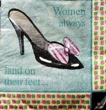 Set of 30 Cocktail Beverage 2-ply Napkins - Shoes: Women always land on... feet