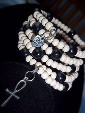 Wood BEAD Coil ADJUSTABLE Wrap CHARM Bangle Bracelet (W-10) by Quality Jewelry