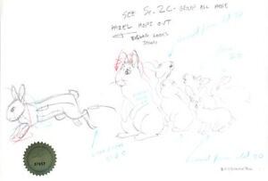 Watership Down 1978 Production Animation Cel Layout Drawing with LJE COA 15-5