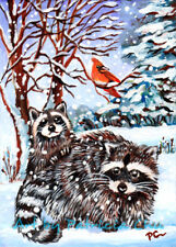 """ACEO LE Art Card Print 2.5x3.5"""" Raccoons in the Snow"""" Animal Art by Patricia"""