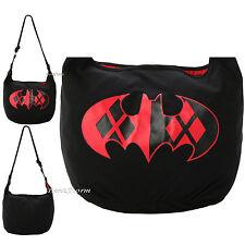 DC Comics BATMAN HARLEY QUINN LOGO Symbol Cross Over Hobo Bag Purse blk/red NEW