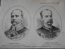 Gravure 1874 - Le Maréchal Serrano et le Grénéral Primo de Rivera