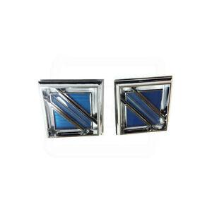 81-87 Regal Sail Panel Square Blue Shield Medallion Emblem Adhesive Backed PAIR