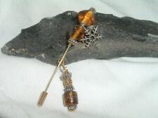 Vintage Murano Hand Blown Amber Glass Snowflake Dangle Hat Pin in Gift Box