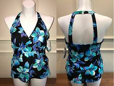 Caribbean Joe Swim Solutions Martinique Floral Underwire Tankini Top NWT 16 C/D