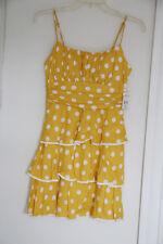 B. Smart WOMENS VINTAGE YELLOW POLKA DOT TIERED RUFFLE DRESS 5 SMALL NWT!