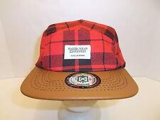 MAKER WEAR PLAID HAT CAP W/ LEATHER VISOR ADULT'S ADJUSTABLE RED NWT