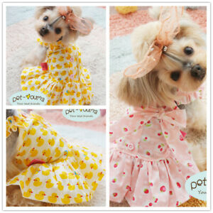 Female Dog Dress Size Extra Small to Medium Cotton Skirt for Cat Yorkie Shih Tzu