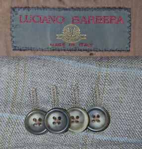 Mens 38 R Luciano Barbera 3/2 Roll Wool / Linen Sage Green Windowpane Blazer