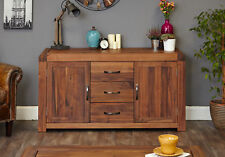 Shiro Premium Solid Walnut Dark Wood Large Sideboard With Cupboard and Drawers
