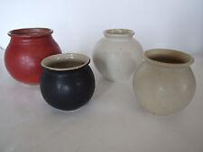 4 Kugelvasen, 2 x weiß, 1 x rot, 1 x schwarz glasiert, Keramik, Töpferei Wenzel
