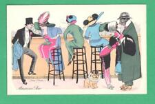 VINTAGE XAVIER SAGER ART POSTCARD AMERICAN BAR LADIES GENTS FRENCH BULL DOG KISS