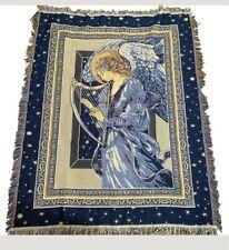 Hallmark Licensing Inc. Throw Blanket Woven Angel Harp Stars Fringe Blue 48 X 58
