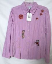 dc0b9299c CAbi Size Large Pink Pin Striped Long Sleeve Button Up Top NWT