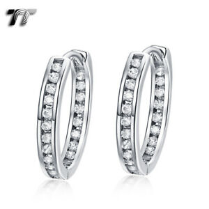 Luxury TT 3mm 18K White Gold Filled Clear CZ Hoop Earrings (ED108) NEW