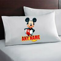 Mickey Mouse Personalized Pillow Case Custom Made w. Your Name