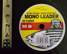 Extra Strong Shock Resistant Mono Leader 50lb 50-Yards Clear, Bonus 25 Yards