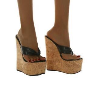 16cm Sky High Heel Platform Clip Toe Women's Nightclub Slipper Sandals 35/42 D