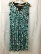 JM Collection Embellished  Dress Turquoise/white/black Size M