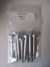 "AN74A21 Steel Machine Bolt Drilled Hex Head 1/4-28 x 2 1/8"" - Lot of 10"