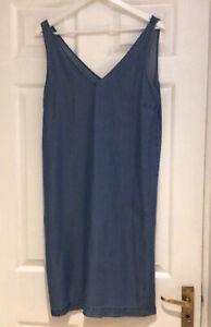Selected Femme Denim V Neck Sleeveless Shift Dress Sz 38 ( 10) Bnwt