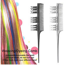 2 Side Hair Dyeing Comb Adjustable Sectioning Highlight Comb Weaving Cutting